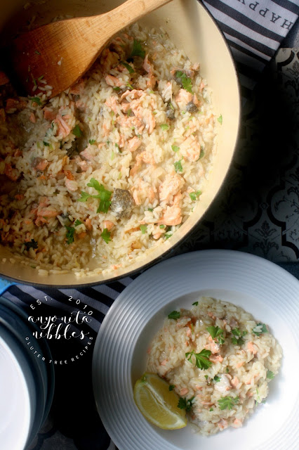 This lightened up rice pilaf is bursting with fresh citrus flavours and succulent salmon and whips up in under 20 minutes!
