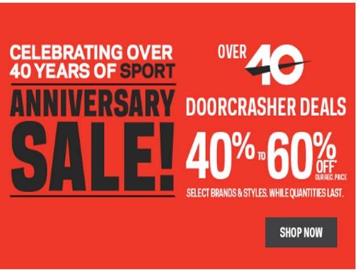Sportchek 40th Anniversary Sale 40-60% off Doorcrashers