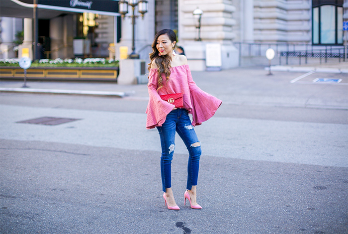 pink off shoulder bell sleeve top, moon river bell sleeve top, ripped jeans, christian louboutin pink pumps, baublebar pink tassel earrings, gucci marmont wallet on the chain bag, san francisco style blog, fall outfit ideas