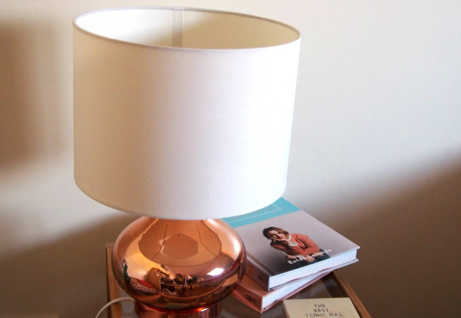 Bedside lamp on table