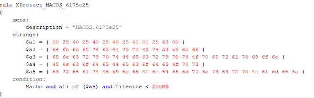 An example of XProtect's Yara rule imagen