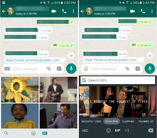 Download WhatsApp new Update with Gboard GIF Support : V2.17 APK