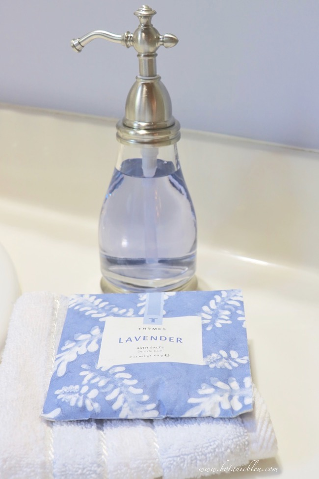 Use French Country lavender soap and sachets in a bathroom