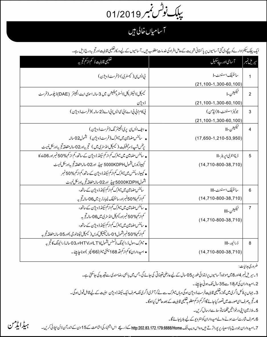 Jobs in Public Sector Organization - Pakistani Nationality Holders
