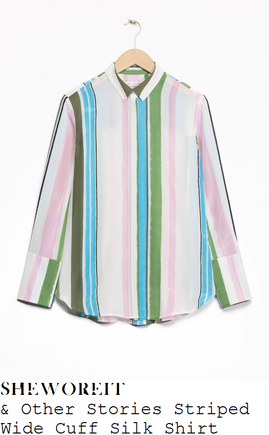 holly-willoughby-and-other-stories-cream-pink-green-and-blue-vertical-stripe-print-collared-silk-shirt