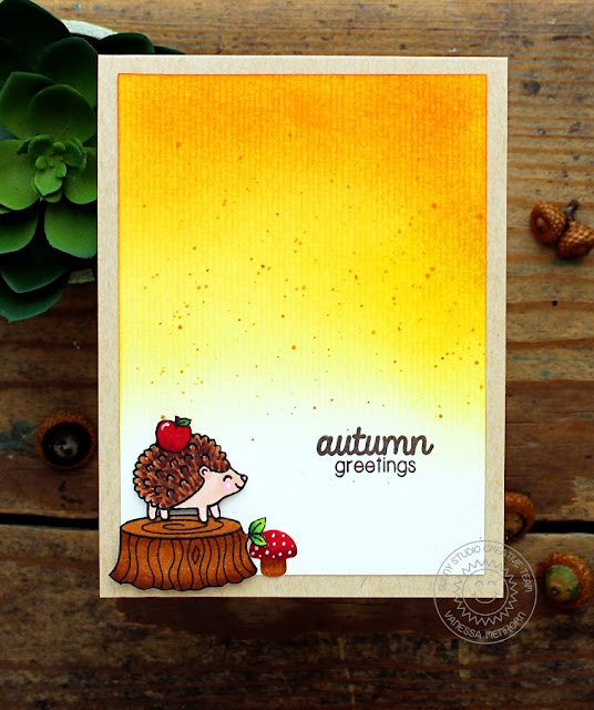 Sunny Studio Stamps: Woodsy Creatures Hedgehog Card by Vanessa Menhorn.