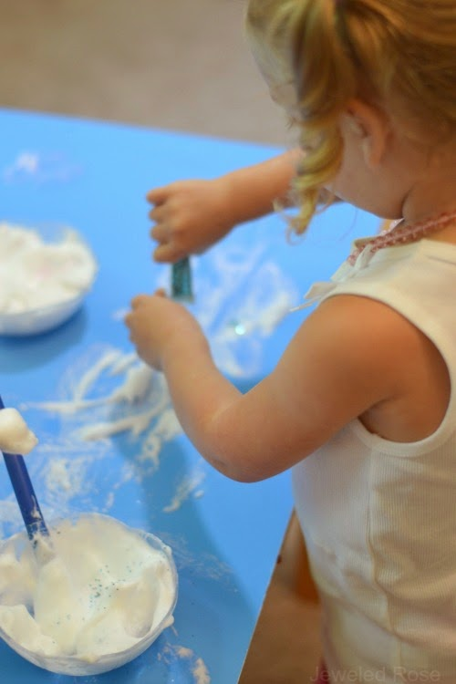 Frozen Olaf Paint- do you want to build a snowman?  Mix this paint up and the kids will have a blast painting Olaf!
