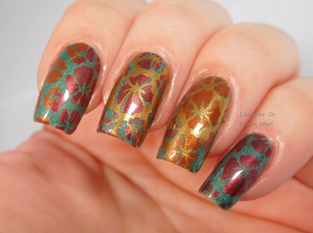 Girly Bits 1-01 stamped with Girly Bits Flame, Firebrick and Bronze Goddess, over The Lady Varnishes Hatred & Revenge