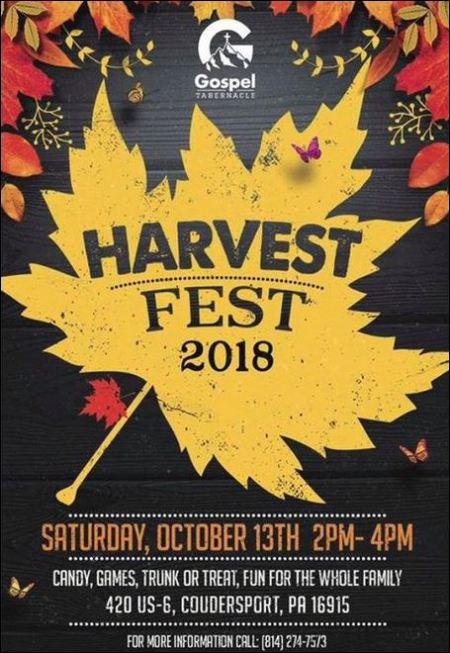 10-13 Harvest Fest, Coudersport Gospel Tabernacle