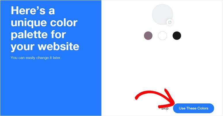 Pilih warna pallet Wix