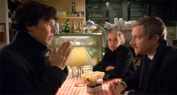 Benedict Cumberbatch, Martin Freeman and Amanda Abbington as Sherlock, John Watson and Mary Morstan in the restaurant in BBC Sherlock Season 3 Episode 1 The Empty Hearse