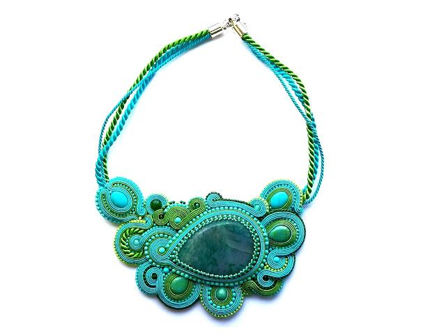 soutache nacklace turquoise green naszyjnik sutasz turkus zieleń