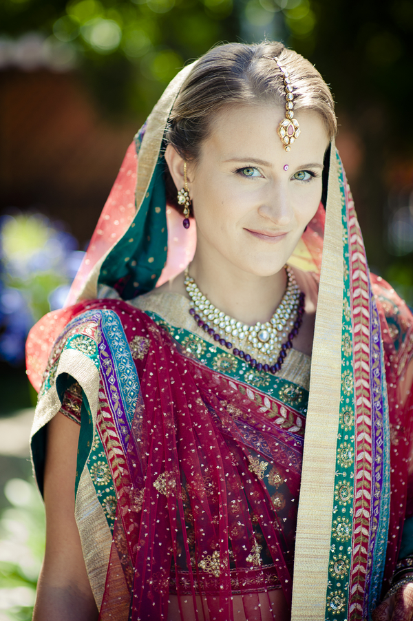 american+indian+india+hindu+mixed+ethinic+multi+wedding+religious+christian+sari+bride+groom+orange+red+pink+outdoor+modern+unique+offbeat+green+henna+wedding+darshan+photography+9 - East Meets West