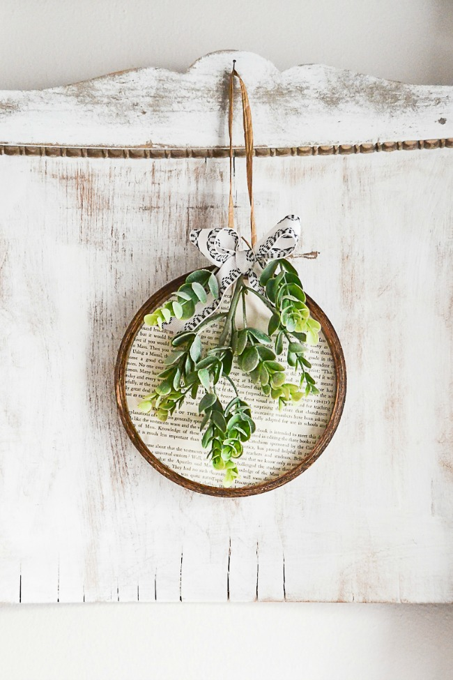 Book page and embroidery hoop wreath for spring