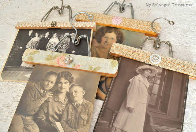 decorated wooden hangers as picture holders
