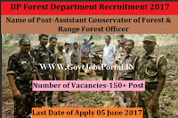 UP Forest Department Recruitment 150+ Forest Ranger Officer Posts 2017
