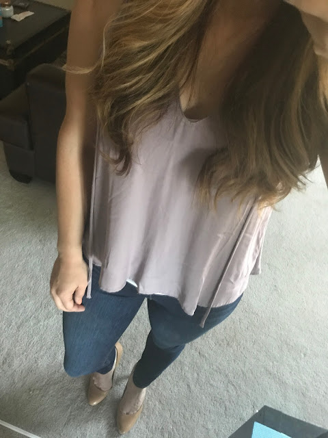 LUSH Top, Joe's Jeans and Tan Nine West Pumps on girl in mirror from above.