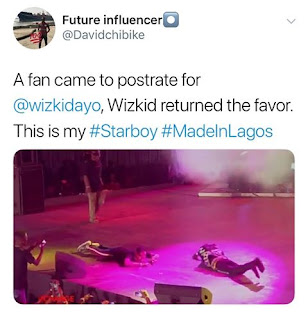 Wizkid Postrated For a Fan Who did Same