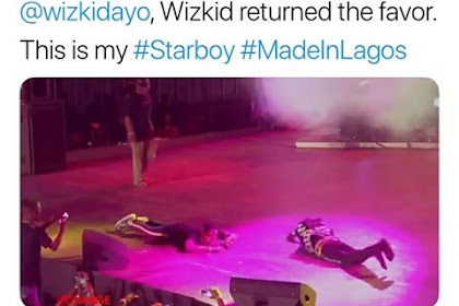 Unbelievable! Wizkid Postrated For a Fan Who did Same At his Made In Lagos show (Video)