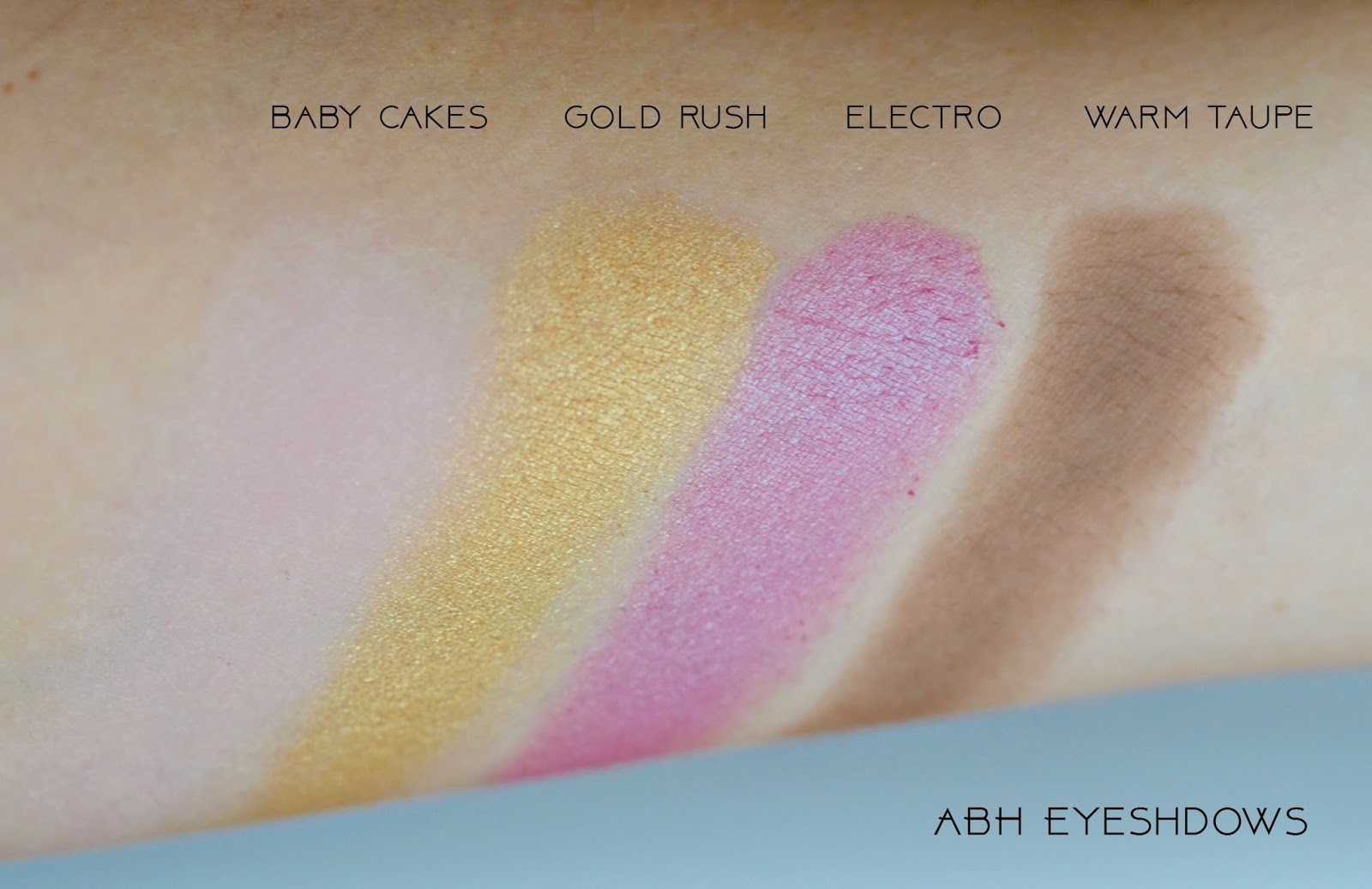 Anastasia Beverly Hills eyeshdows, baby cakes, electro, warm taupe, gold rush, swatches, ABH