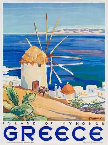 Mykonos Vintage travel poster 1949