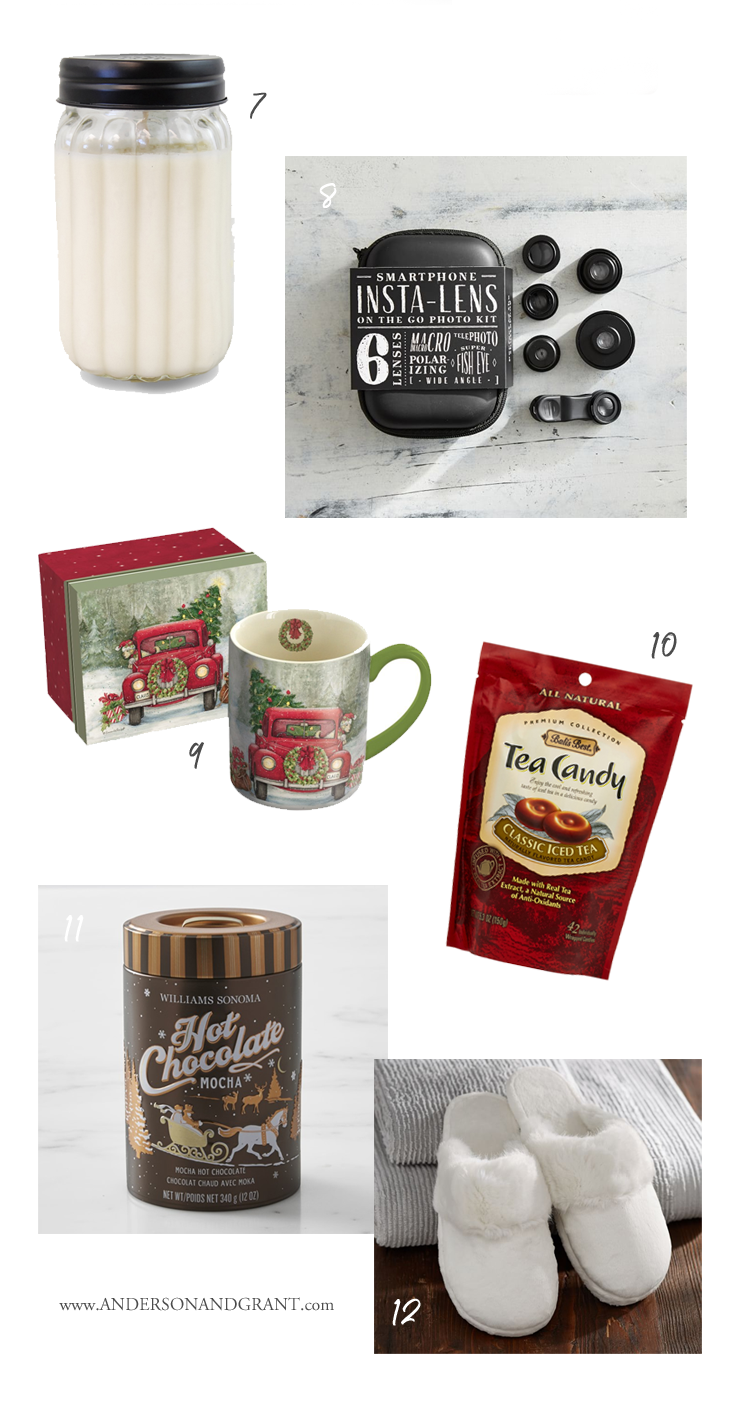 Twelve special gifts all under $25 perfect for any of the ladies on your Christmas shopping list.  |  Holiday Gift Guide at www.andersonandgrant.com