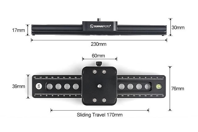 Sunwayfoto M3 Micro Slide side and top dimensions