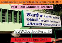 Public Work Department, Lakshadweep Administration Recruitment 2017-Post Graduate Teacher
