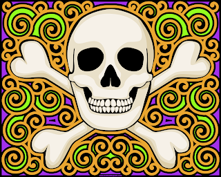 Skull coloring page- blank available