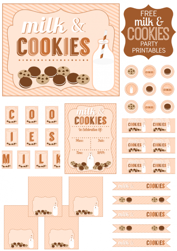 Milk and Cookies Party Free Printable Kit