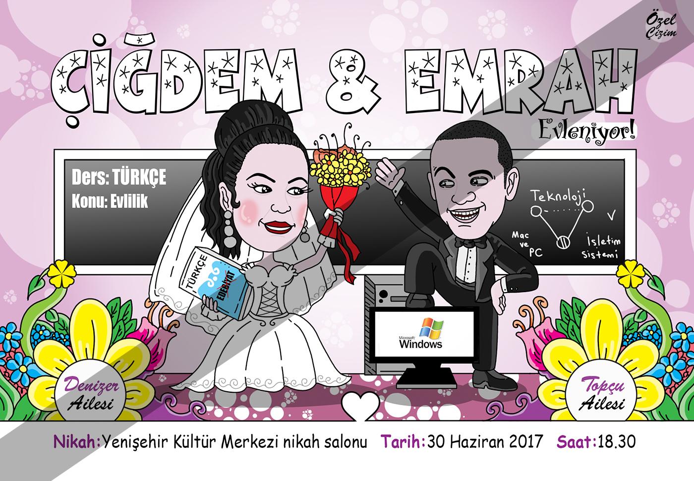 davetiye, düğün davetiyesi, davetiye modelleri, davetiye örnekleri, karikatür, karikatürlü davetiye, öğretmen davetiye, kişiye özel, komik davetiye, evleniyoruz, Özel Çizim, davetiyeler,