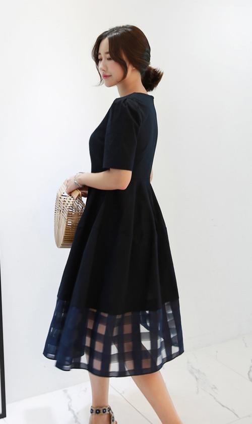 Gingham Check Hem Panel Midi Dress