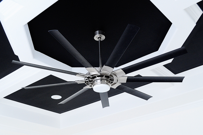 72 inch black and brushed nickel ceiling fan: Our lighting choices for our new home. Learn how we saved $1000. | via monicawantsit.com