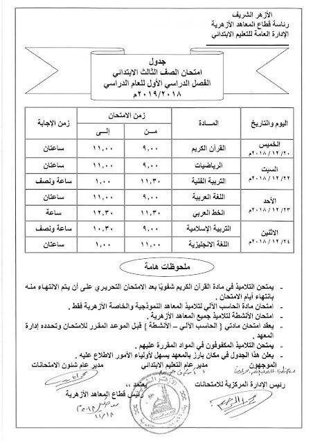 بالصور جدول امتحانات المرحلة الابتدائية الازهرية