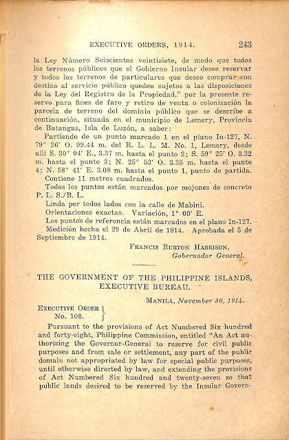 Executive Order No. 107 series of 1914 Spanish version.