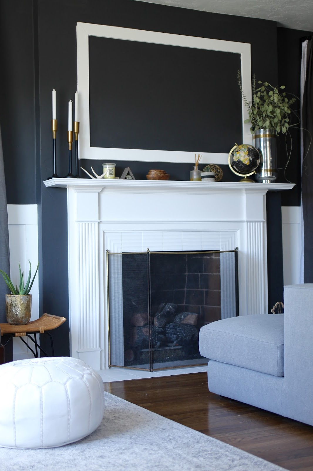 charcoal, living, room, benjamin moore, wrought iron, modern, mid century decor design home