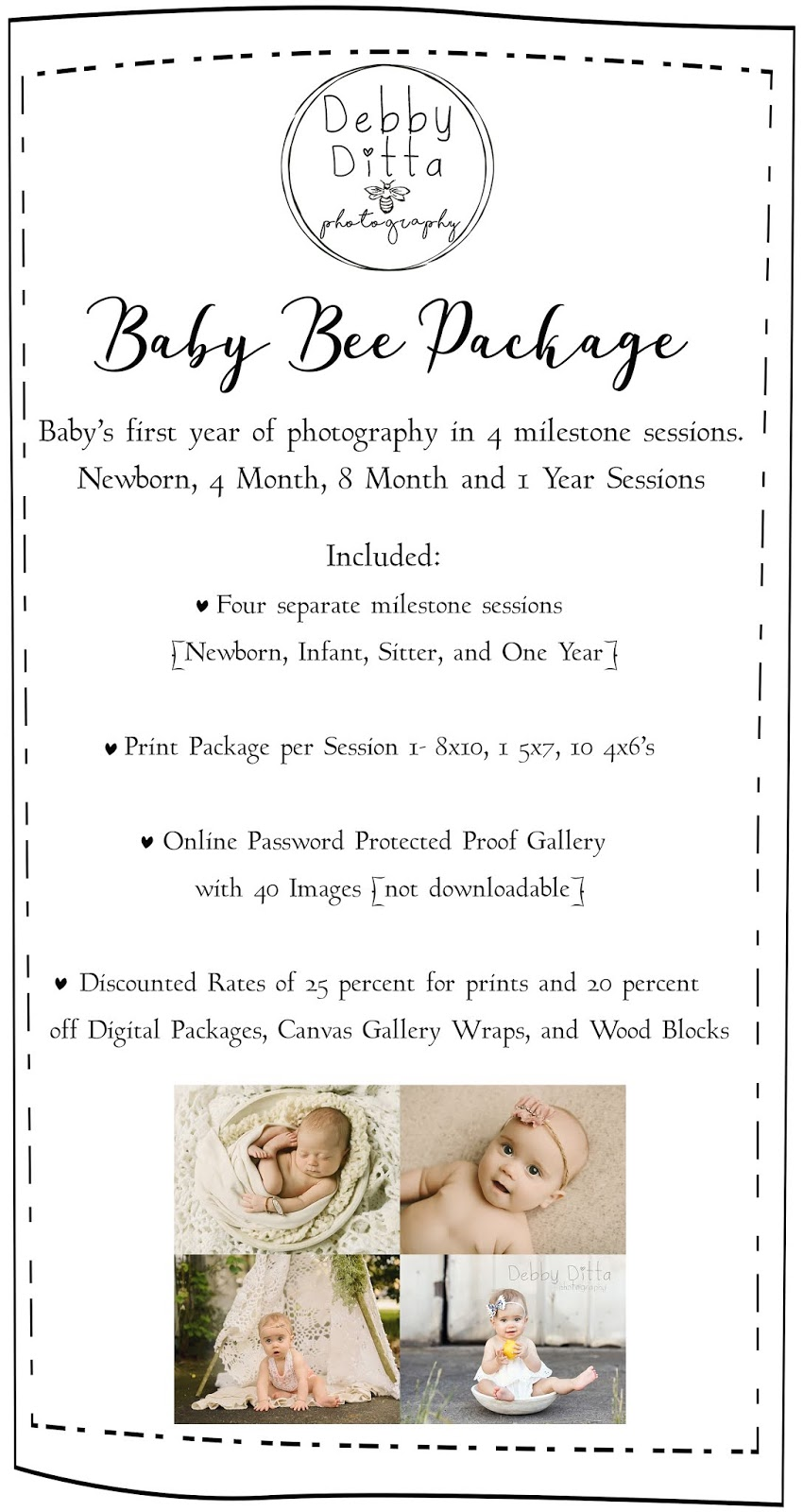 Details on sessions included in the baby bee one year package