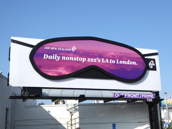 Special Air New Zealand sleep mask billboard