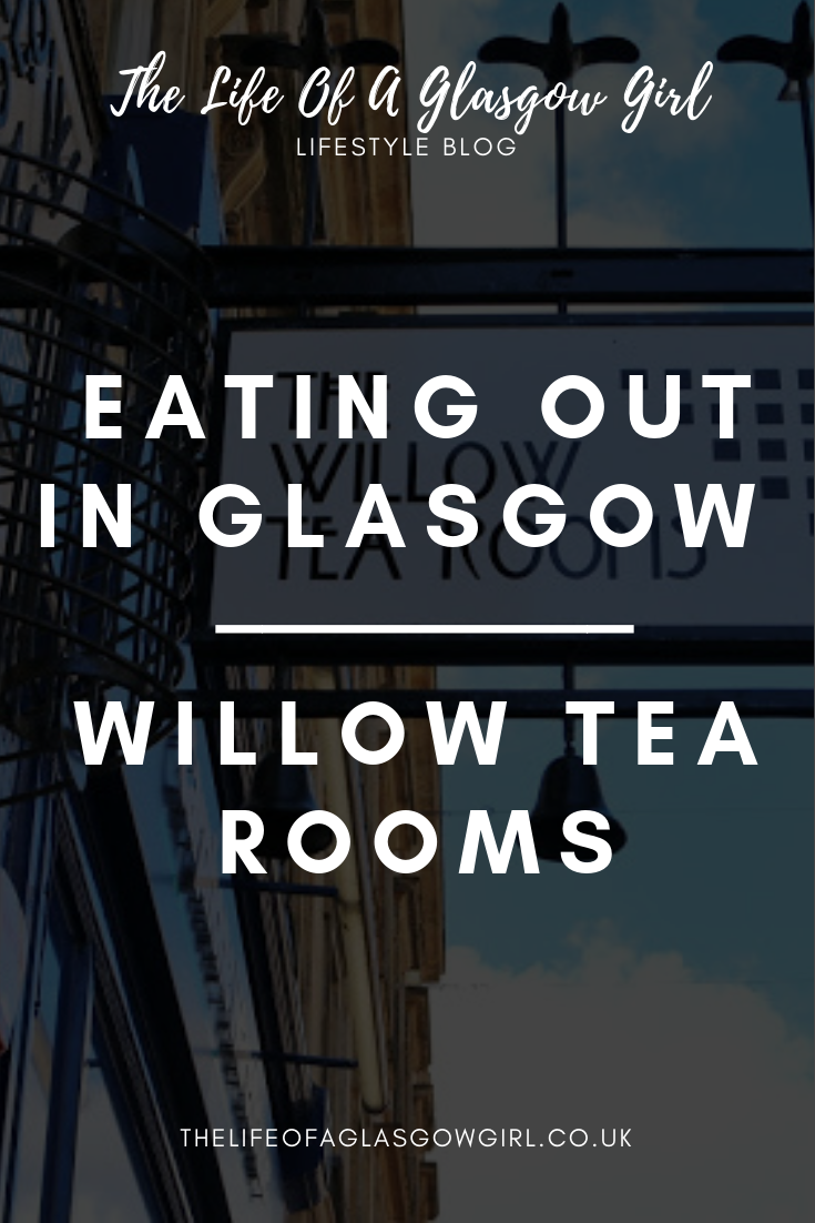 Pinterest graphic - close up of the willow tea rooms sign