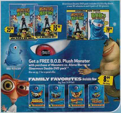 Blu Ray Dvd Exclusives Monsters Vs Aliens Best Buy Exclusive B O B Plush Dvd Bd