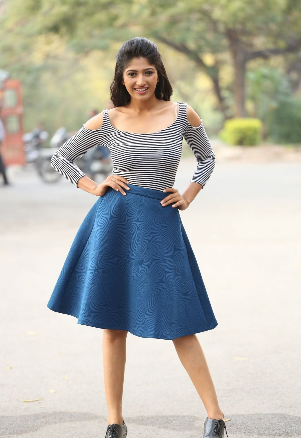 Indian Girl Roshini Prakash Stills In Blue Dress