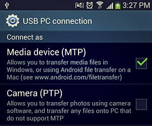 Media device (MTP) checkbox