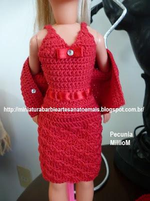 Vestido, casaco e sapatos de Crochê Para a Susi Antiga Criada Por Pecunia MillioM 1