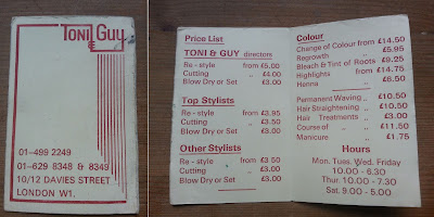 Toni & Guy Price List 1978