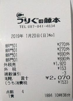 藤本釣具店 2019/1/20購入レシート