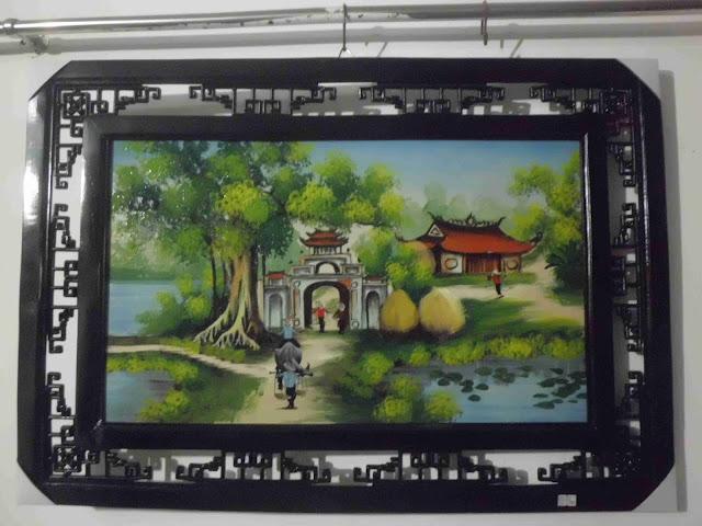 Tranh sứ cảnh làng quê Việt Nam- gốm sứ Bát Tràng