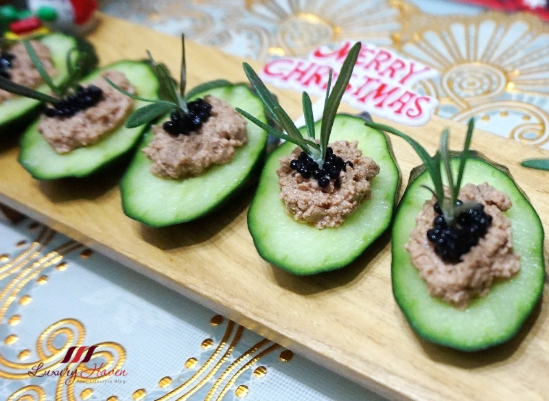 christmas appetizers with golden goose liver foie gras