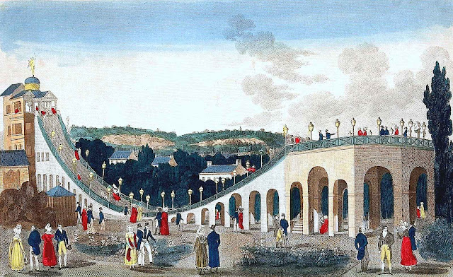 A painting of a Paris amusement ride in 1800