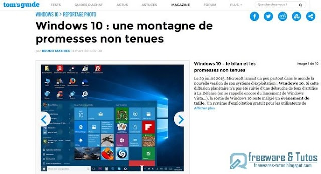 Le site du jour : Les fausses promesses de Windows 10