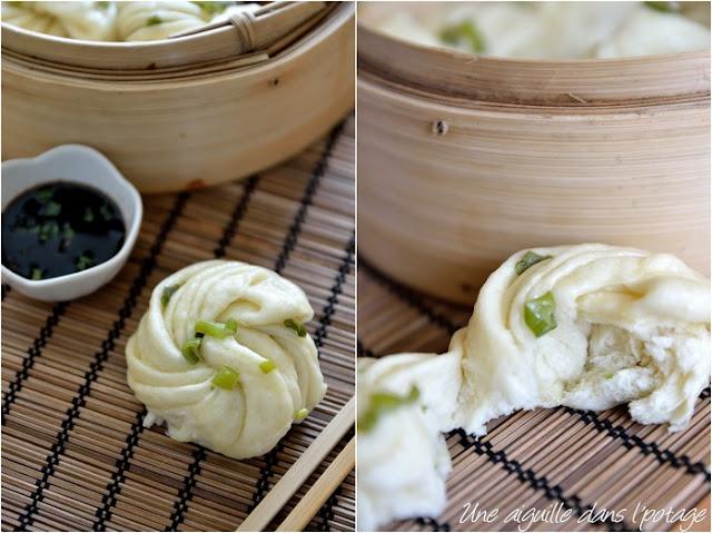 Hua juan, pain chinois à la vapeur  oignon vert